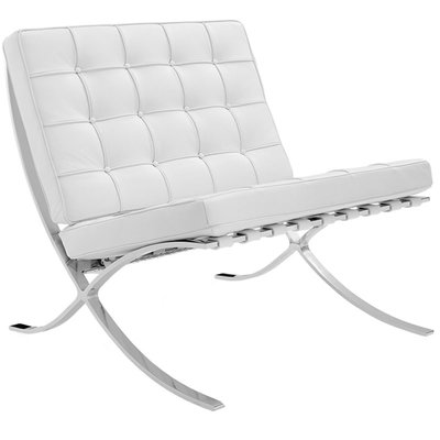 Luxe Barcelona Chair Wit (Expo fauteuil splitleder)