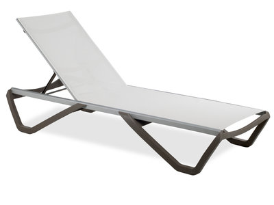 Luxe Lounge Ligbed - Wit / Taupe