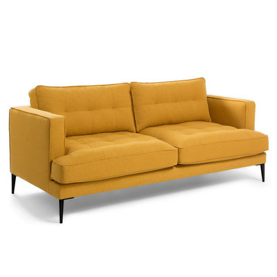 VINNY Sofa 3 seaters metal legs fabric mustard