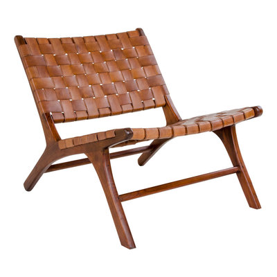 Catana Chair - Chair in dark brown with brown leather