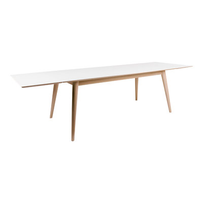 Copenhagen Dining Table - Dining table in white with natural legs 195/285x90 cm