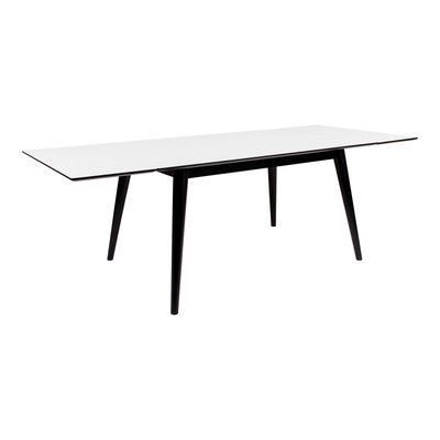 Copenhagen Dining Table - Dining table in white with black legs 150/230x95 cm