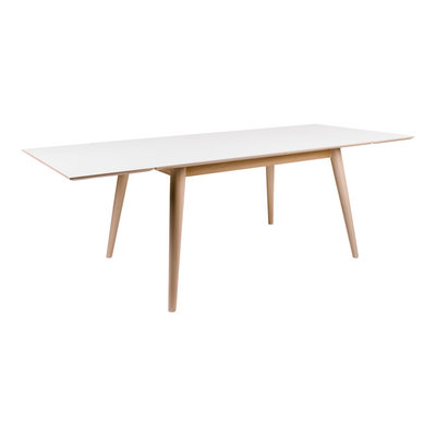 Copenhagen Dining Table - Dining table in white with natural legs 150/230x95 cm