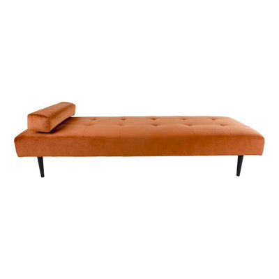 Capri Daybed - Daybed in burned orange velvet with natural wood legs