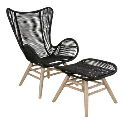 Helsinki Lounge Chair w. Footrest - Lounge chair in acacia white with black rope
