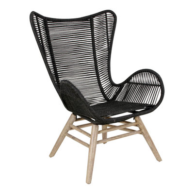 Helsinki Lounge Chair - Lounge chair in acacia white with black rope