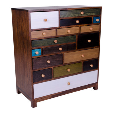 Prato Chest of Drawers - Chest of drawers in wood with 17 coloured drawers