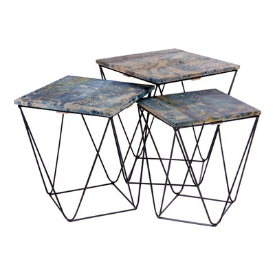 Ranchi Side Table - Side tafel in mango hout, marmer afwerking blauw s / 3