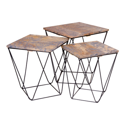 Ranchi Side Table - Side tafel in mango hout, marmer afwerking grijs s / 3