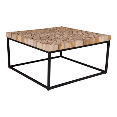Knoxville Coffee Table - Coffee Table in hout met metalen voet 80x80 cm